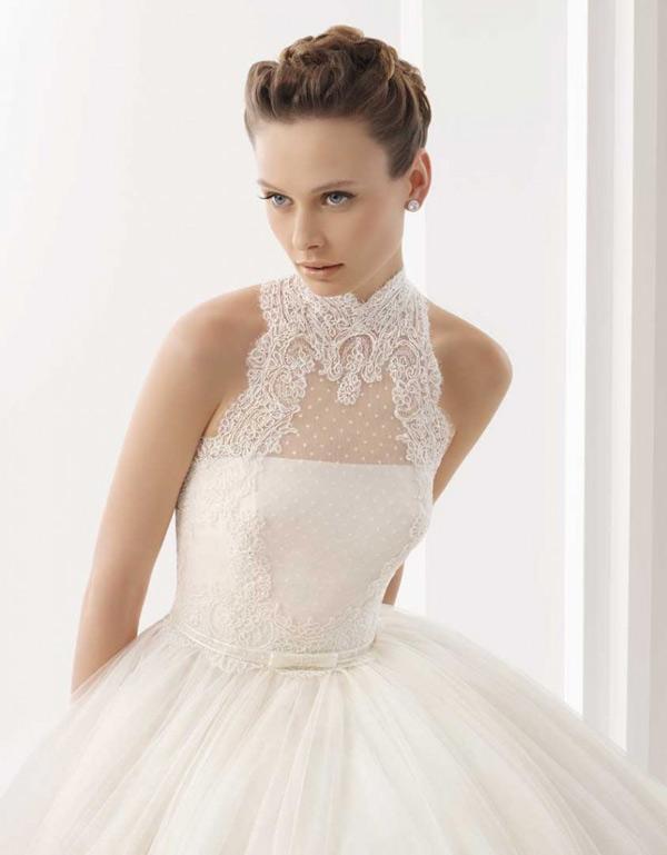 peinado recogido vestido de novia escote cerrado de fantasia
