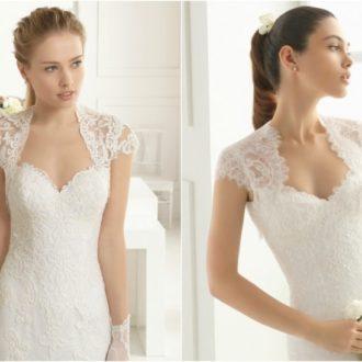 diferentes propuestas de vestidos de novia con escote Reina Ana de Rosa Clará