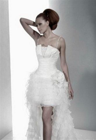 novia con vestido corto Mariage de Herve