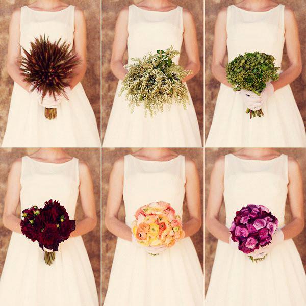novia con diferentes propuestas de ramos de novia