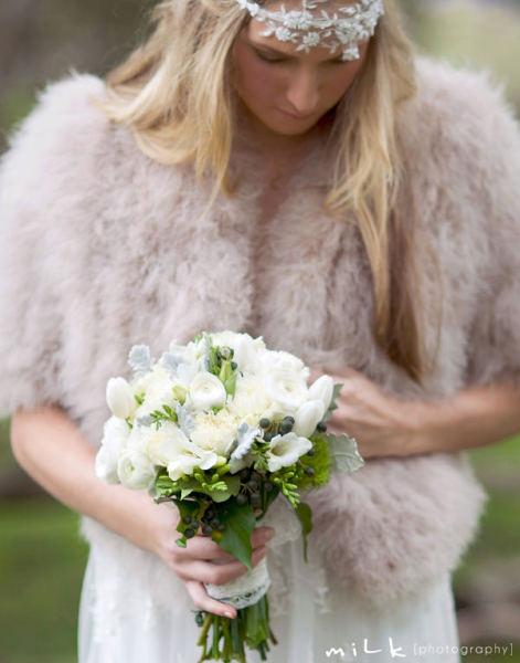chaqueta de pelo para vestido de novia