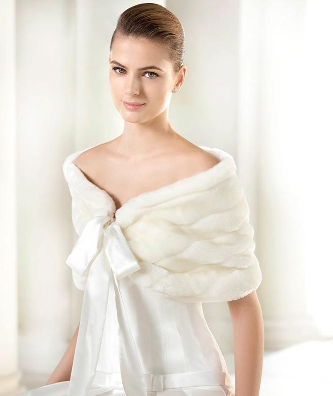 estola de piel vestido de novia