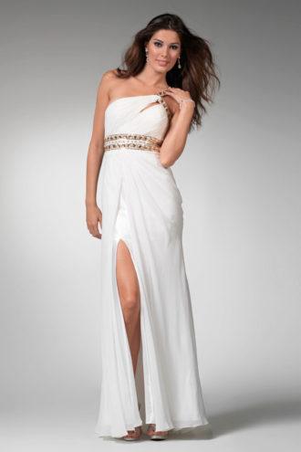 novia con vestido de inspiración griega de Alice Panikian