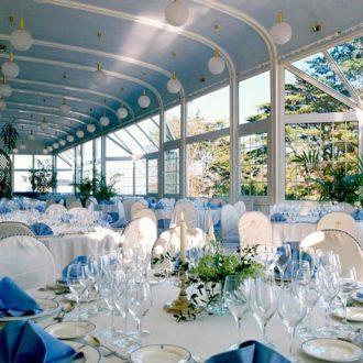 decoración de mesa de boda en color azul