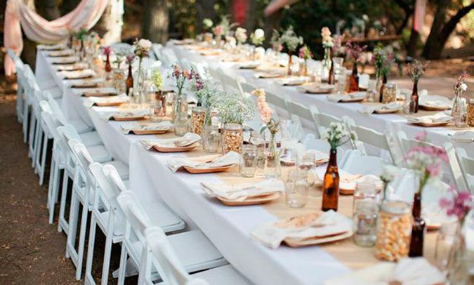 decoración de mesa de boda en colores pastel