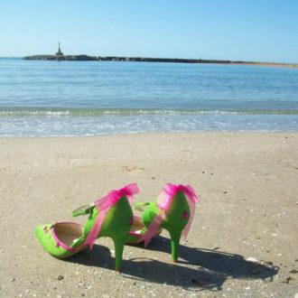 zapatos para novia de Mademoiselle Rose en color verde
