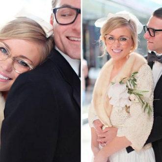 pareja recién casada, novia con gafas