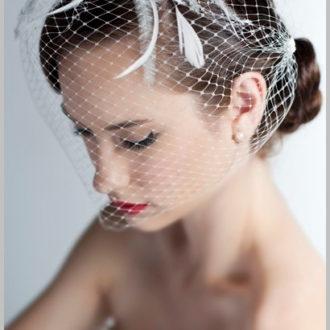 novia con velo birdcage frontal