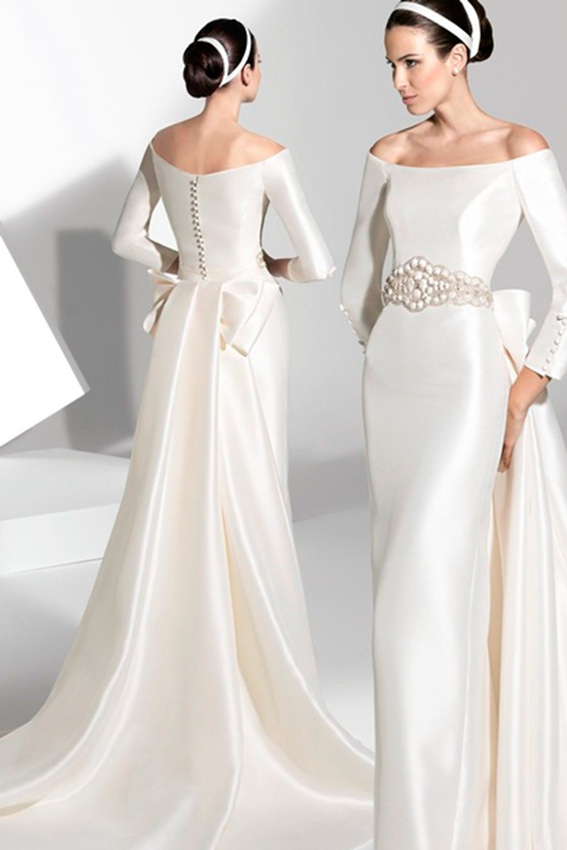 vestidos de novia con escote barco   vestidosdenovia