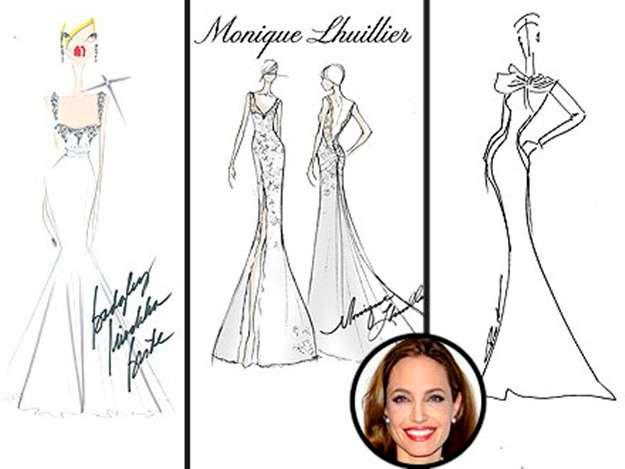 bocetos de los posibles vestidos de novia de Angelina Jolie