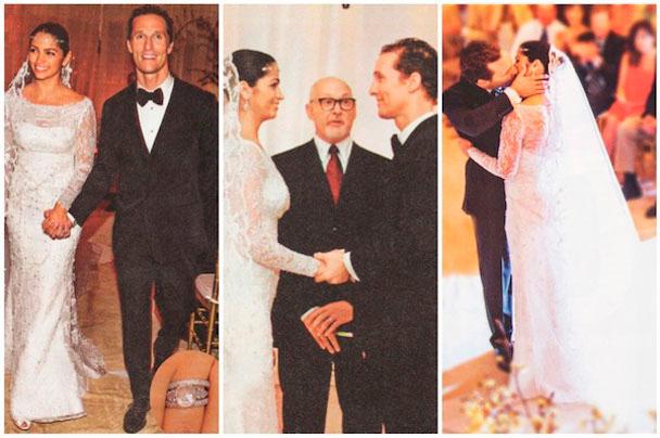 diferentes fotografías de la boda de Matthew McConaughey