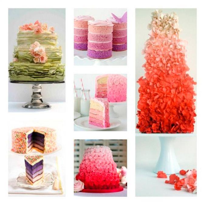 diferentes propuestas de tartas para boda en colores degradados