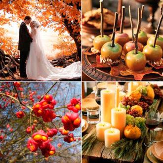 diferentes detalles de una boda en otoño