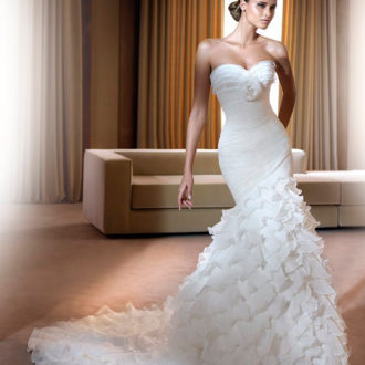 vestido de novia corte sirena escote corazón