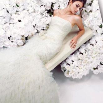 vestido de novia corte sirena palabra de honor