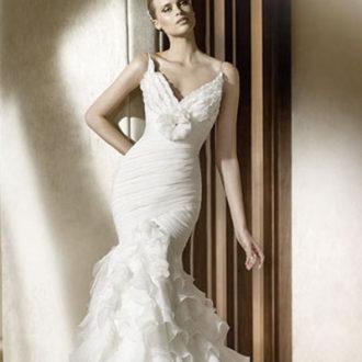 vestido de novia corte sirena con escote en v