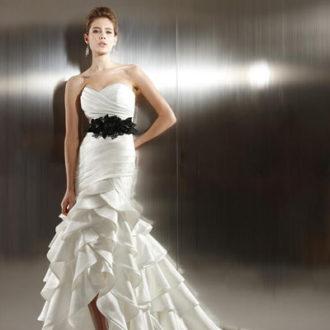 vestido de novia corte sirena palabra de honor con cinturon