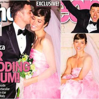 jessica biel vestido de novia rosa en portada revistas