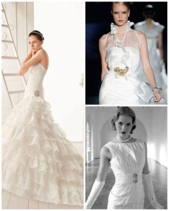 diferentes propuestas de vestidos de novia con pedrería