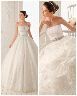dos propuestas de vestidos de novia strapless con pedrería de Aire Barcelona