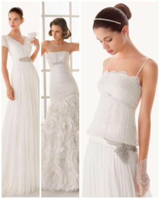 diferentes propuestas de vestidos de novia con pedrería de Rosa Clará