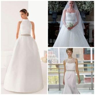 diferentes propuestas de vestidos de novia con cinturón joya de Rosa Clará, Romona Keveza y Rivini