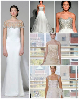 diferentes propuestas de vestidos de novia con pedrería de Marchesa, Anna Maier y Rivini