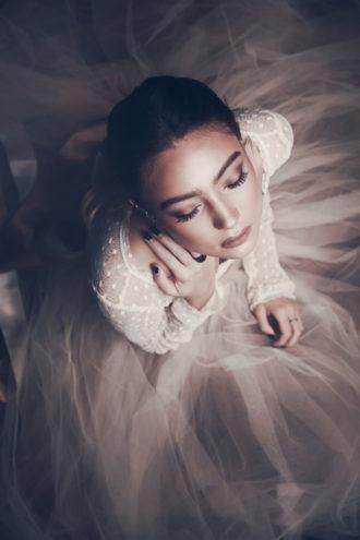 novia con vestido visto desde plano cenital