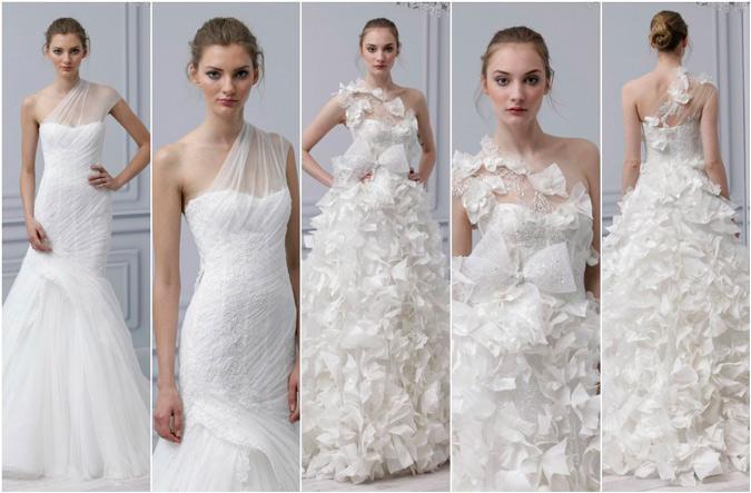 diferentes propuestas de vestidos de novia con escote asimétrico de Monique Lhuillier