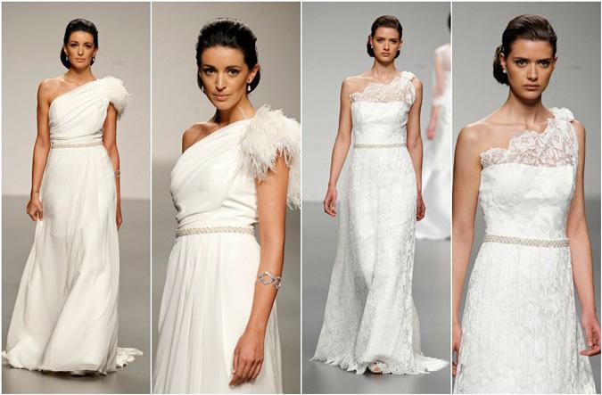 diferentes propuestas de vestidos de novia con escote asimétrico de Ana Torres