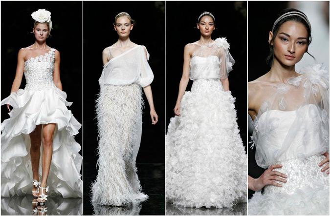 diferentes propuestas de vestidos de novia con escote asimétrico de Pronovias