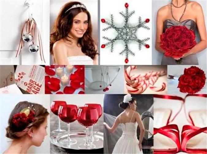 detalles de la decoración de una boda en Navidad en color rojo y plata