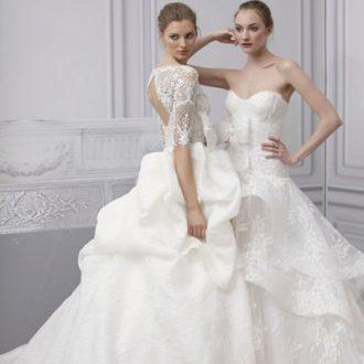 dos propuestas de vestidos de novia estilo princesa de Monique Lhuillier