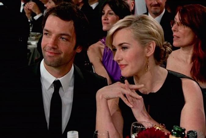 foto de pareja de Kate Winslet y Ned Rocknroll en la entrega de premios de Los Globos de Oro