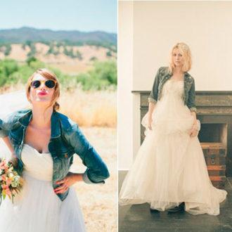 dos propuestas de cómo llevar cazadora tejana con vestido de novia
