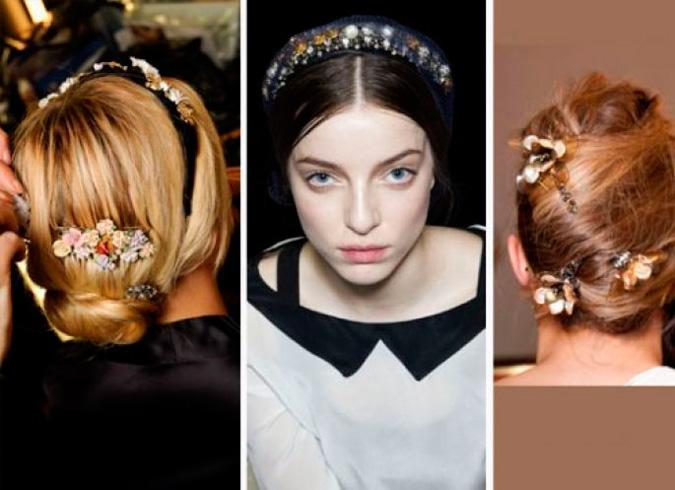diferentes propuestas de peinados de novia con joyas