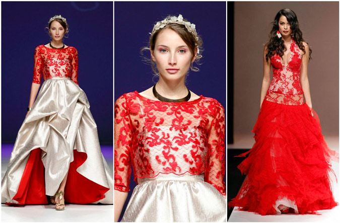 diferentes propuestas de vestidos de novia de encaje rojo de Carla Ruiz y Jordi Dalmau