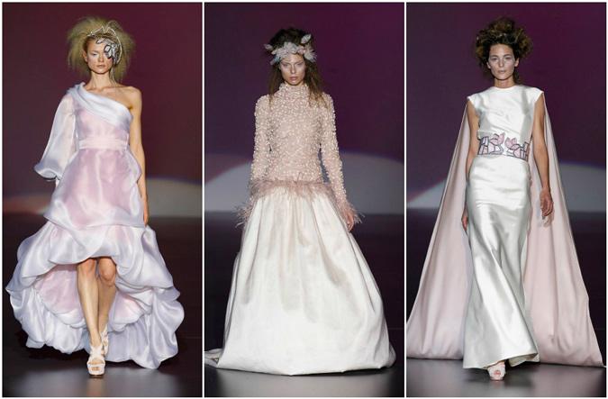 diferentes propuestas de vestidos de novia en color malva de Isabel Zapardiez