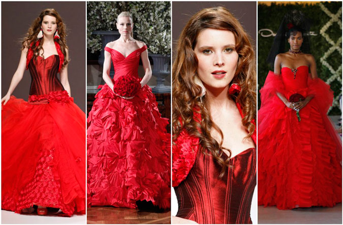 diferentes propuestas de vestidos de novia en color rojo de Jordi Dalmau, Ramona Keveza y Oscar de la Renta