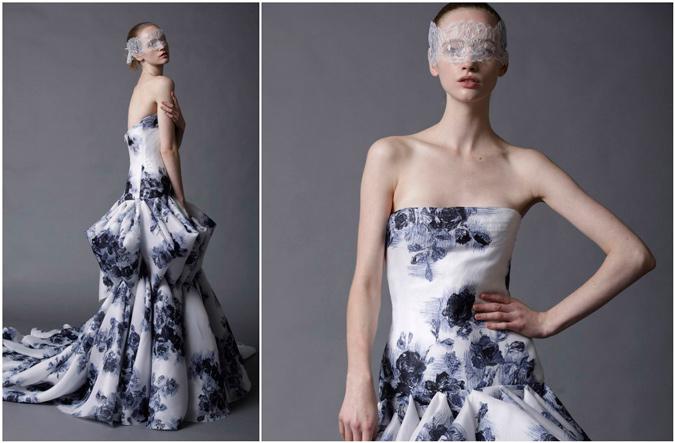novia con vestido estampado con volumen en la cadera de Douglas Hannant