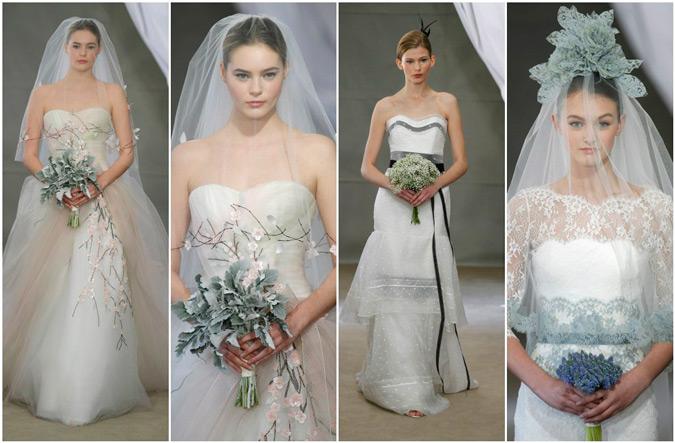 diferentes propuestas de vestidos de novia blancos con detalles en negro de Carolina Herrera