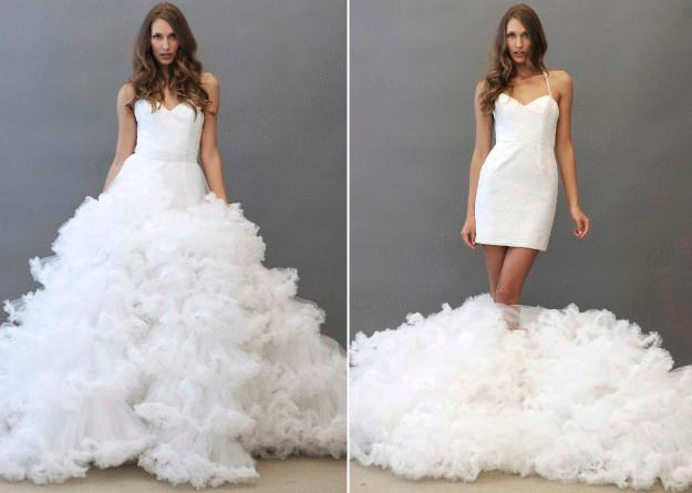novia con vestido dos en uno de tirante fino