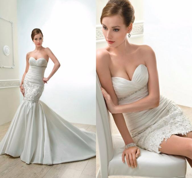 novia con vestido dos en uno strapless