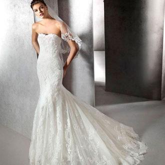 corte sirena vestido de novia con velo