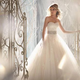 palabra de honor vestido de novia con cinturon
