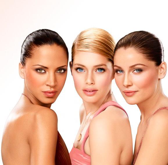diferentes tonalidades de maquillaje de rostro
