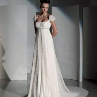novia con vestido de corte imperio