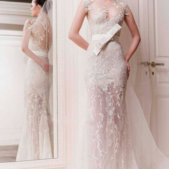 novia con vestido texturizado de Zuhair Murad