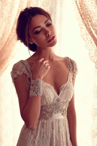 novia con vestido de inspiración Gran Gatsby