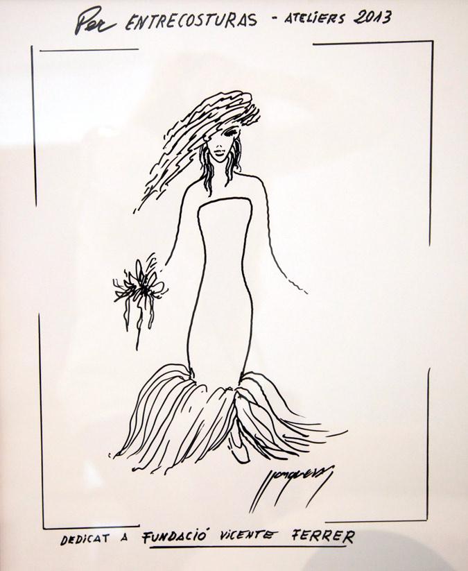 boceto de vestido de novia de Lluís Llongueras